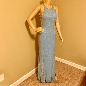 Cache -blue fully beaded dress
